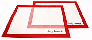 Baking Mat Set (2pk Red) Non Stick Baking Mat, Cookie Sheet Size (16 5 8 X 11 3 4 Inches X... by Simply Essentials