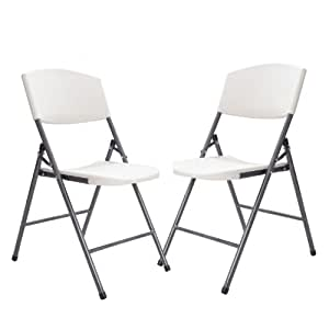 Joveco White Plastic Folding Chair Easy Storage Gray Steel Legs Set Of 2
