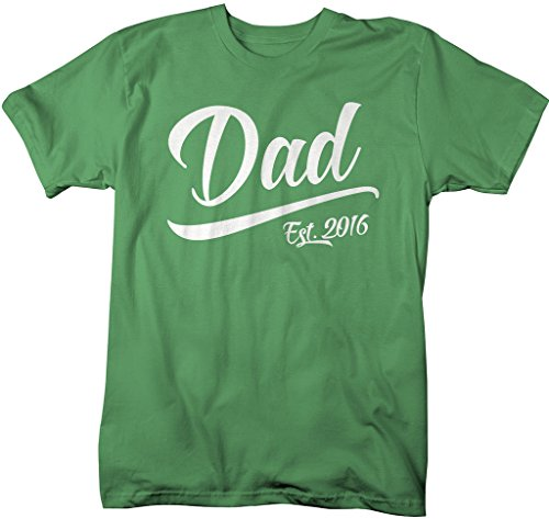 Shirts By Sarah Men's Dad Gift Est. 2016 Ring Spun Cotton T-Shirt (Green Medium)