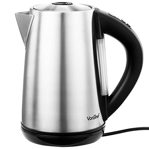 VonShef 1.7L/ 54fl oz Variable Temperature Control Cordless Electric Kettle - Stainless Steel (Temp Control Kettle compare prices)