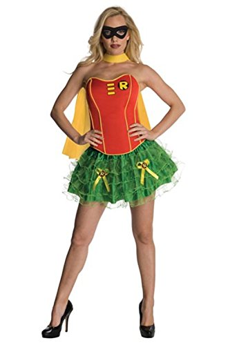 [Lover-baby Four Piece Yellow Piping Red Corset Green Petticoat Yellow Cape Black Eye Mask Sexy Movie Costume Robin Costumes] (Robin Corset Costume)