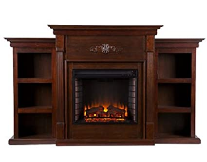 Electric Fireplace with Storage Bookcases - Rich Espresso - Family Room Furniture