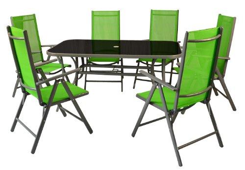7tlg. Gartengarnitur Sitzgruppe Sitzgarnitur Garnitur Terrasse Set Garten grün