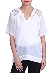 Iande White Georgette Less Patch Top