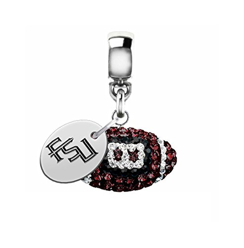 Florida State Seminoles Crystal Football Drop Charm Fits All European Style Bracelets