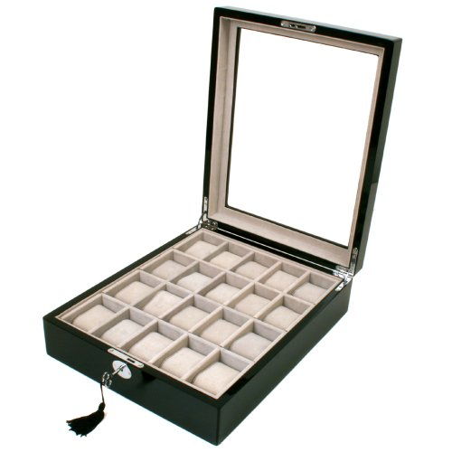 Swiss Watches:Watch Box Storage for 20 Watches Black Lacquer Finish Inlaid Top Tech Swiss Images