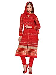 VARANGA Red Embroidered Semi Stitched salwar suit with Matching dupatta ZLK30003