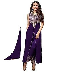 RajLaxmi Women's Fashion Purple Georgette Dress Material