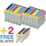 ECS Elitegroup Remanufactured Ink Cartridges Replacement for Epson T048 T048 (4xBlack, 2xYellow, 2xCyan,2xMagenta,2xLight Cyan, 2xLight Magenta, 14-Pack)