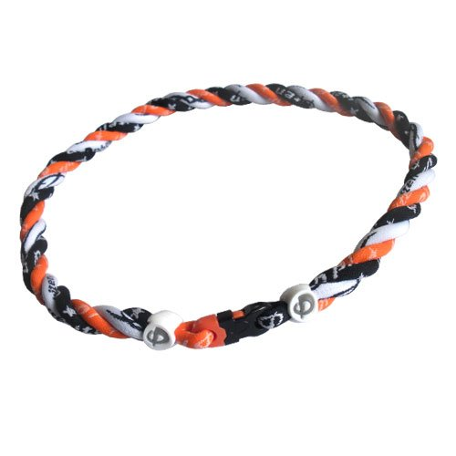 Phiten Titanium Orange and Black Star with Tribal White Triple Necklace - 17 inches