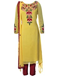 Azra Jamil Indian Georgette Yellow Resham Embroidered And Pearl Hand Work Traditional Churidar Suit For Women