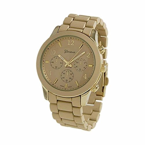 """The """"Boyfriend"""" Watch. Large Sized Ceramic Designer Style Fashion Watch With Gold Band Gold Face"""