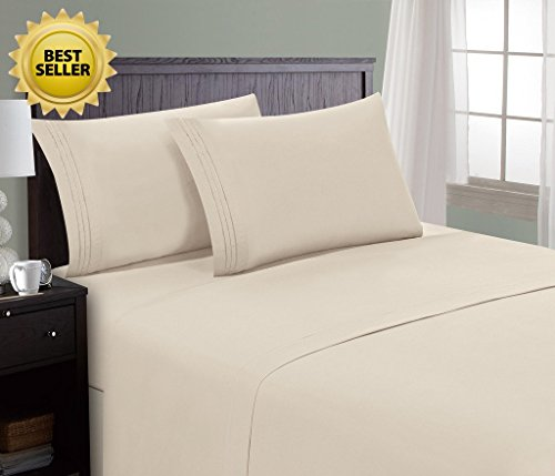 HC Collection Bed Sheet & Pillowcase Set HOTEL LUXURY 1800 Series Egyptian Quality Bedding Collection! Deep Pocket, Wrinkle & Fade Resistant,Luxurious,Comfortable,Extremely Durable(King, Cream) (King Bed Hotel Sheets compare prices)
