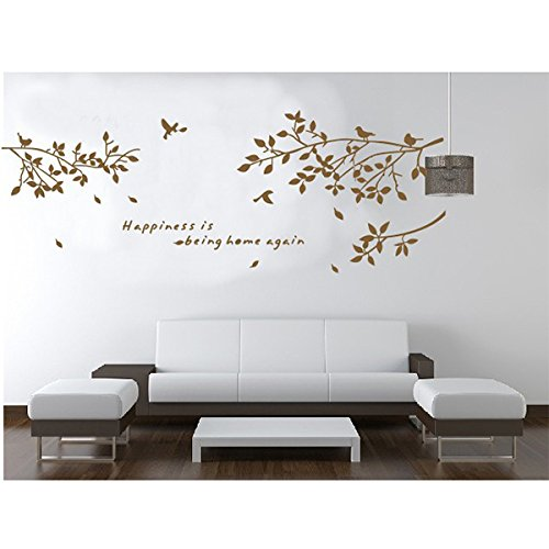 Coffee Tree Branches Bird Wall Stickers Home Room Decors Mural Art Decals Adhesive Decorative