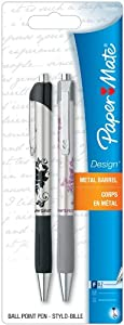 Paper Mate Design Retractable Fine Point Pens, 2 Floral Design Black Ink Pens | Office Gem