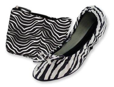 Zebra Print Foldable Ballet Flat Shoes (Small (5-6.5))