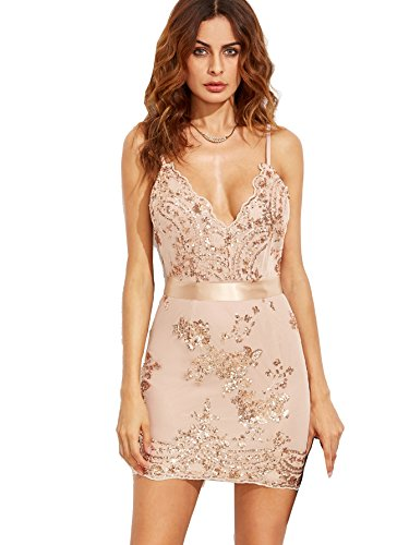 MakeMeChic Women's Sexy V Neck Sleeveless Sequin Party Club Mini Dress Apricot S