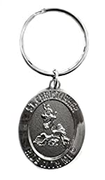 St. Christopher Ride with Me Motorcycle Medallion Key Ring