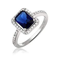 buy Bling Jewelry Emerald Cut Simulated Sapphire Pave Engagement Ring 925 Sterling Silver