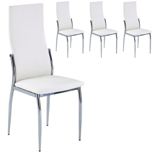 Set of 4 White Faux Leather and Chrome Metal Saturn Modern Contemporary Dining Chairs or Kitchen Chairs