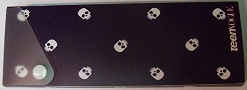 Staples Sliding Pencil Box with Snap Lock ~ Teen Vogue (Skulls on Navy)