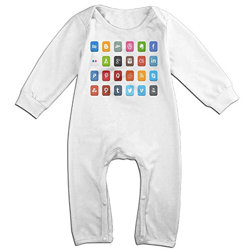 HOHOE Boy's & Girl's Social Icons Long Sleeve Jumpsuit Outfits 12 Months (Crock Tooth Necklace compare prices)