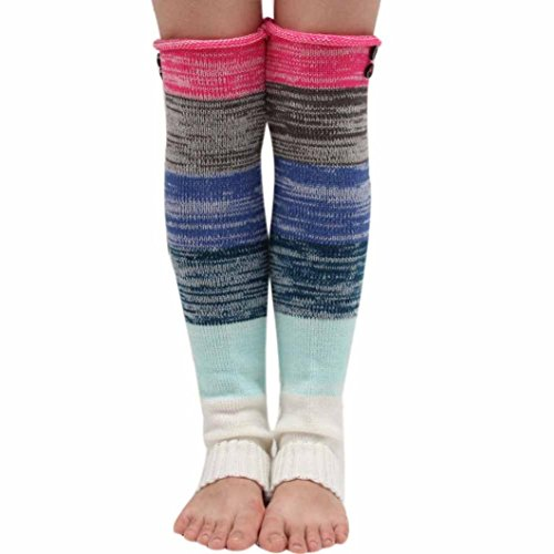 Winhurn 2016 Women Crochet Knitted Stocking Leg Warm Boot Cover Button Trim Socks (Hot Pink) (Mantle Covers For Fireplaces compare prices)