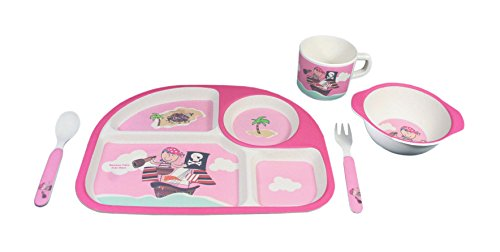 EcoBamboo Ware Kids Bamboo Dinnerware Set, Pink Pirate