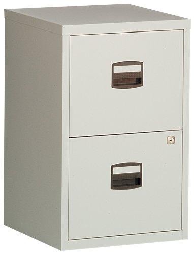Bisley Steel PFA2-av4 Filing Cabinet 2 Drawer A4 H672xW413xD400mm - Grey with Black Handles