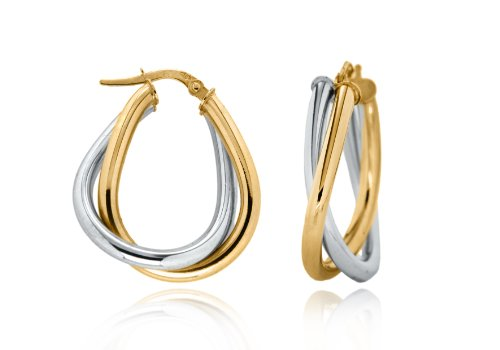 9ct Two Colour Gold Twined Creole Earrings