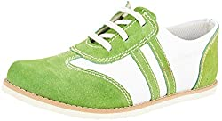 Willywinkies Boys Green and White Leather Casual Shoes - 1 UK