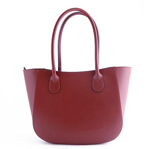 Sac Shopper En Cuir Véritable Pour Femme Taupe Foncé - Maroquinerie Fait En Italie - Sac Femme