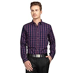 British Line Navy color Slim Fit Checked shirt