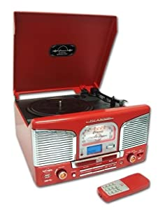 Inovalley Retro 03 N Red Retro Styled HiFi Music System, FM Radio, Vinyl Record Player & CD Player (model with MP3 USB recording & playback)