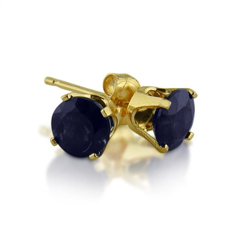 14K Yellow Gold Round Sapphire Stud Earrings (1.20ct tgw, 5mm): Jewelry