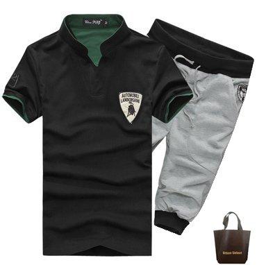 (アーバンセレクト) Urban Select ランボルギーニ風 ポロシャツ ハーフパンツ 上下セット セットアップ YD-03 (XXL, 上ブラック 下グレー)
