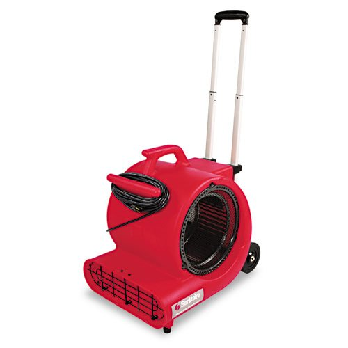 "Electrolux Sanitaire Products - Electrolux Sanitaire - Commercial Three-Speed Air Mover w/Built-on Dolly, Red - Sold As 1 Each - Dries carpet and floors quickly. - Space-saving, stackable design. - Easy to transport, no lifting-extend the dolly handle (up to 39"" high) and go. - Easy-carry molded handle, 3-position kickstand, two 5"" hard-rubber wheels and thermal shut-off. - Made of durable high-density polyethylene with reinforced motor lugs."