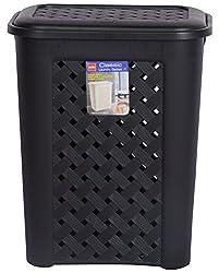 CELLO Eliza Polypropylene Laundry Basket (46 cm x 38 cm x 28 cm, Black)