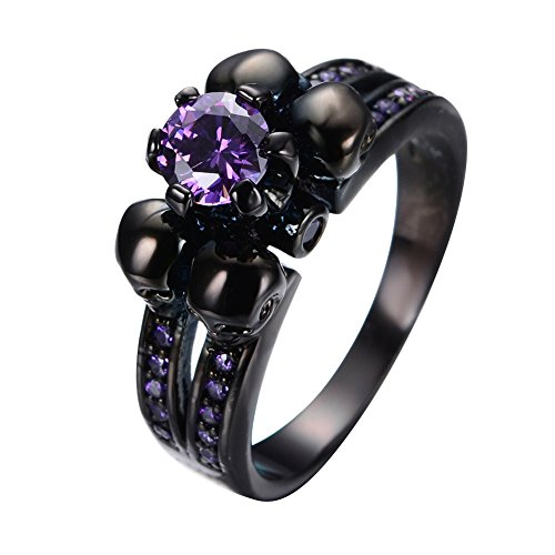 Bamos® Jewelry Fashion Womens Purple Amethyst Six Claws And Four Skulls Black Gold Promise Rings Size 7
