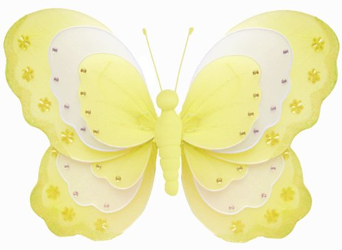"Hanging Butterfly 7"" Small Yellow & White Triple Layered Nylon Butterflies Decorations. Decorate For A Baby Nursery Bedroom, Girls Room Ceiling Wall Decor, Wedding Birthday Party, Bridal Baby Shower, Bathroom. Kids Childrens Butterfly Decoration 3D Art Cr"