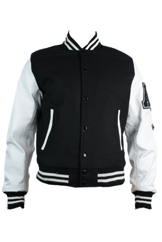 Mens Black College Baseball White Real Leather Arms Bomber Jacket Varsity