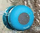 TechCode Mini Ultra Portable Waterproof Bluetooth Wireless Stereo Speakers with Suction Cup for Showers Bathroom, (BLUE)