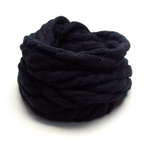 (トライバル)TRIBAL 品良く巻ける 大人カジュアルなスヌード ケーブル編みシンプルニットスヌード ブラック