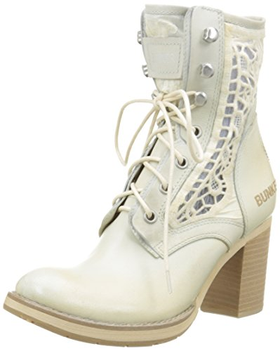 BunkerMana Em9 - Stivali classici alla caviglia Donna , Bianco (Blanc (Ice)), 36 EU
