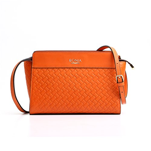 bonia-womens-orange-interweave-satchel
