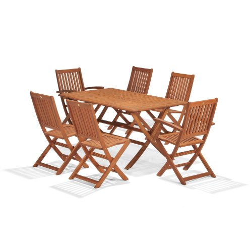Scancom Wiltshire Fsc Eucalyptus Wood 6 Seater Outdoor Dining Set With Rectangular Table