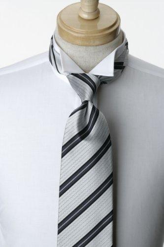 国産 シルク 100%使用 様々なシーンにお使い頂ける フォーマル ネクタイ グレー 系 ストライプ