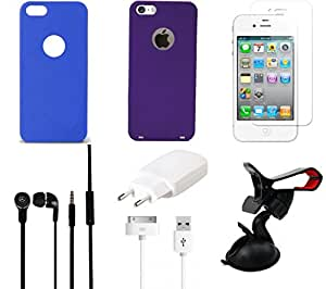 NIROSHA Tempered Glass Screen Guard Cover Case Charger Headphone Mobile Holder for Apple iPhone 6 - Combo