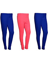 IndiWeaves Women Cotton Legging Comfortable Stylish Churidar Full Length Women Leggings-Blue/Pink-Free Size-Pack...