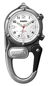 Dakota Watches Mini Clip Watch/Microlight, White Dial, Silver Case 3842-6